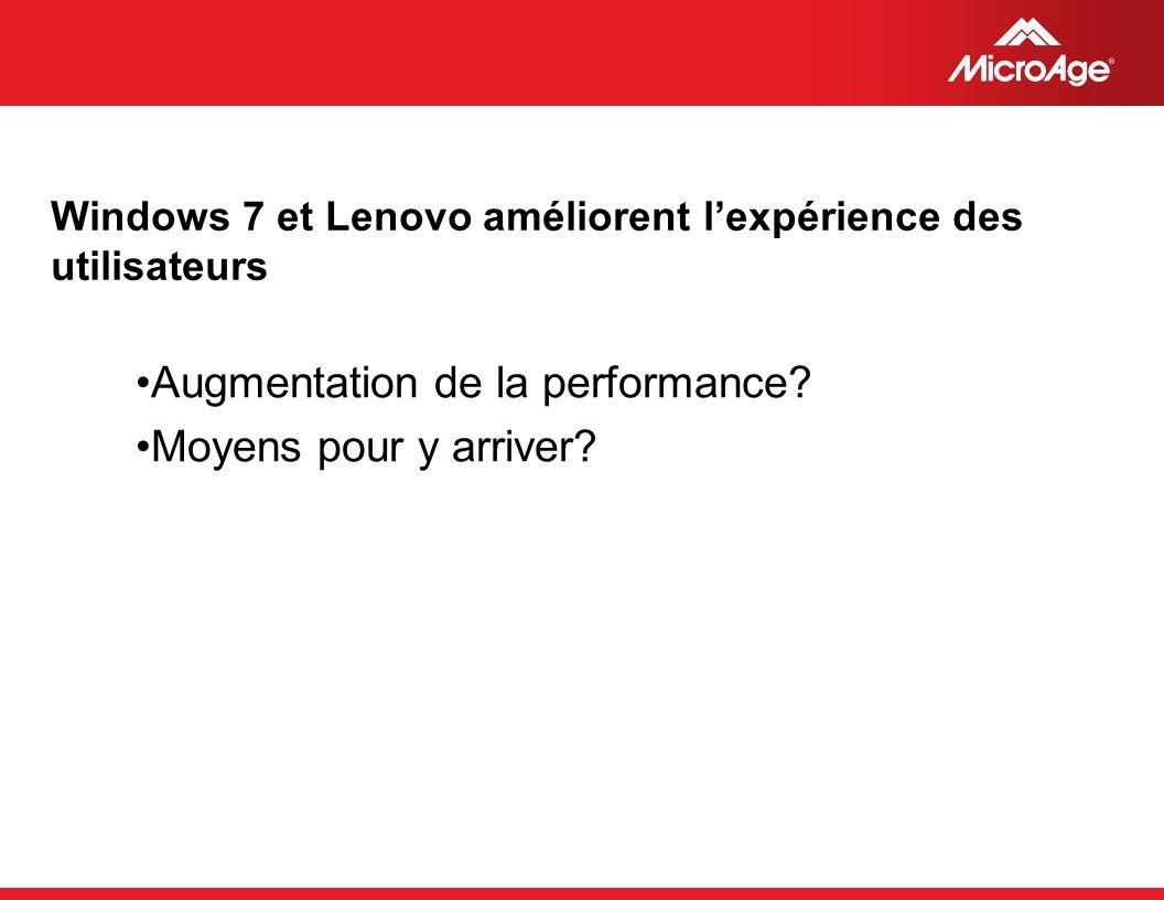 © 2006 MicroAge Windows 7 et Lenovo améliorent lexpérience des utilisateurs Augmentation de la performance.