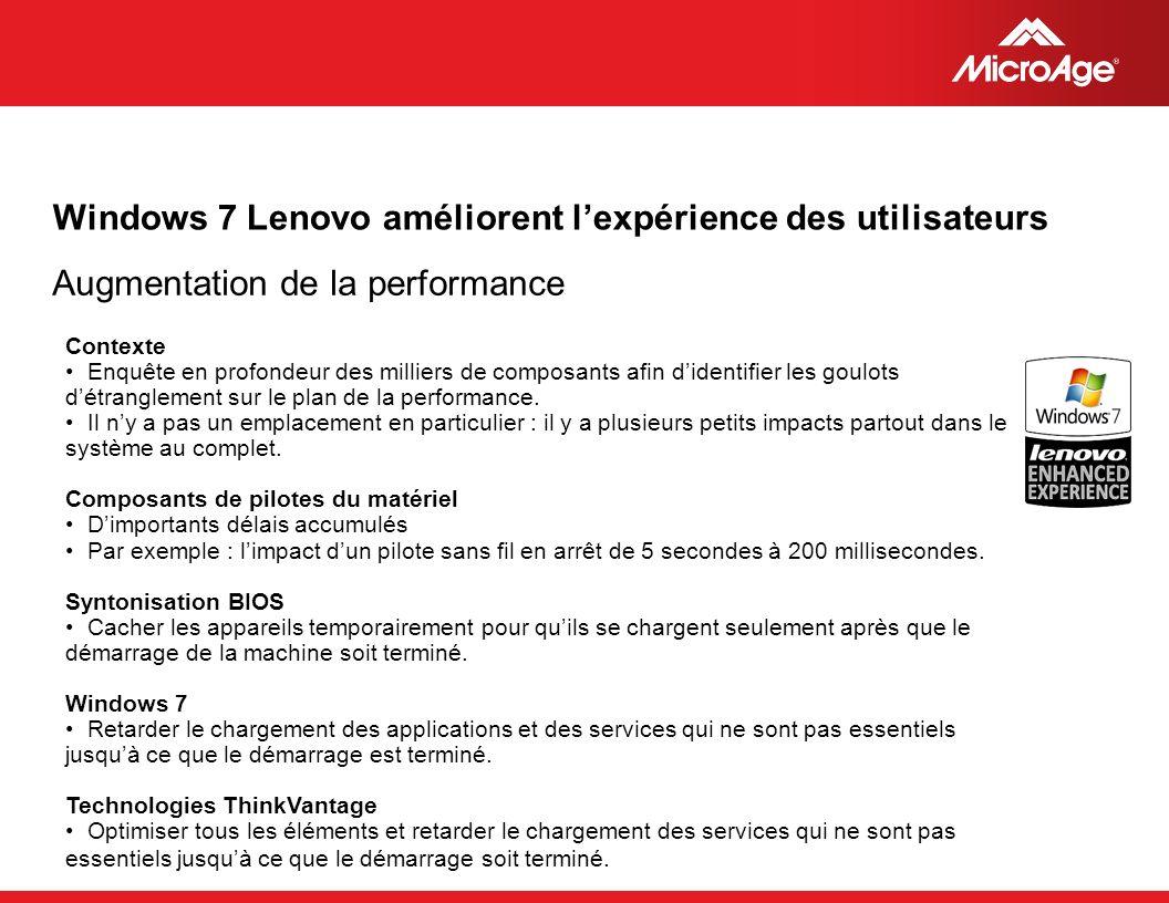 © 2006 MicroAge Windows 7 Lenovo améliorent lexpérience des utilisateurs Contexte Enquête en profondeur des milliers de composants afin didentifier les goulots détranglement sur le plan de la performance.