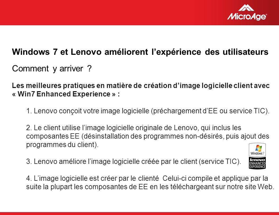 © 2006 MicroAge Les meilleures pratiques en matière de création dimage logicielle client avec « Win7 Enhanced Experience » : 1.