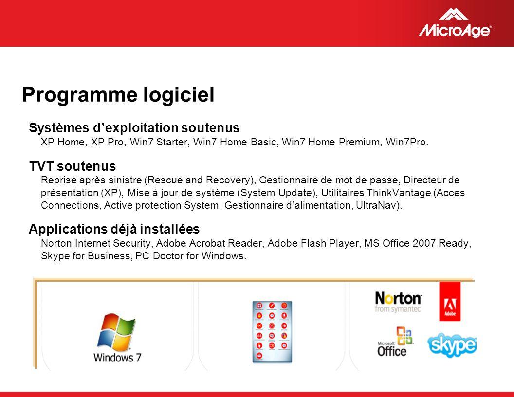 © 2006 MicroAge Programme logiciel Systèmes dexploitation soutenus XP Home, XP Pro, Win7 Starter, Win7 Home Basic, Win7 Home Premium, Win7Pro.