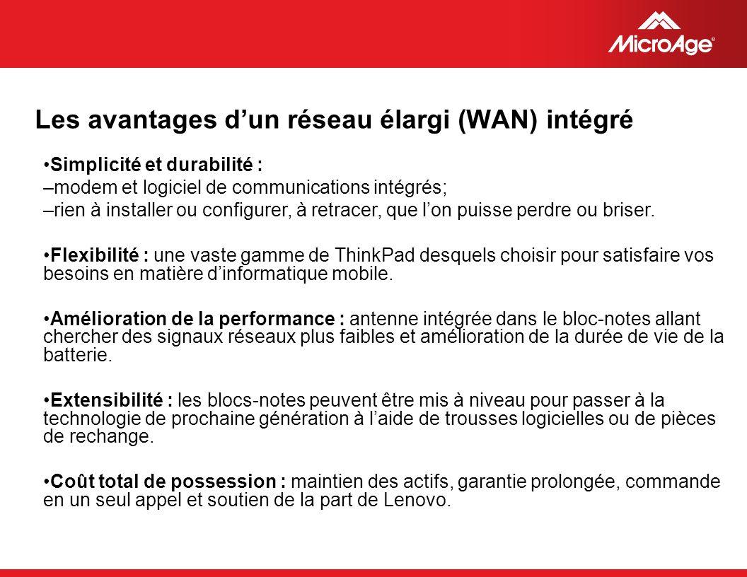 © 2006 MicroAge Les avantages dun réseau élargi (WAN) intégré Simplicité et durabilité : –modem et logiciel de communications intégrés; –rien à installer ou configurer, à retracer, que lon puisse perdre ou briser.