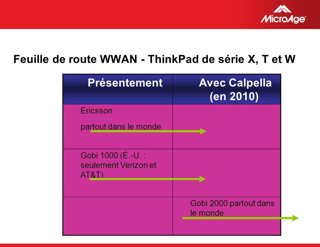 © 2006 MicroAge Feuille de route WWAN - ThinkPad de série X, T et W Présentement Avec Calpella (en 2010) Ericsson partout dans le monde Gobi 1000 (É.-U.
