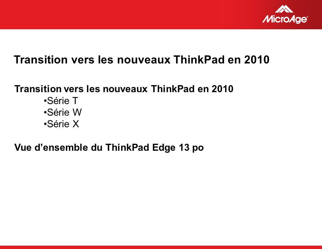 © 2006 MicroAge Transition vers les nouveaux ThinkPad en 2010 Série T Série W Série X Vue densemble du ThinkPad Edge 13 po