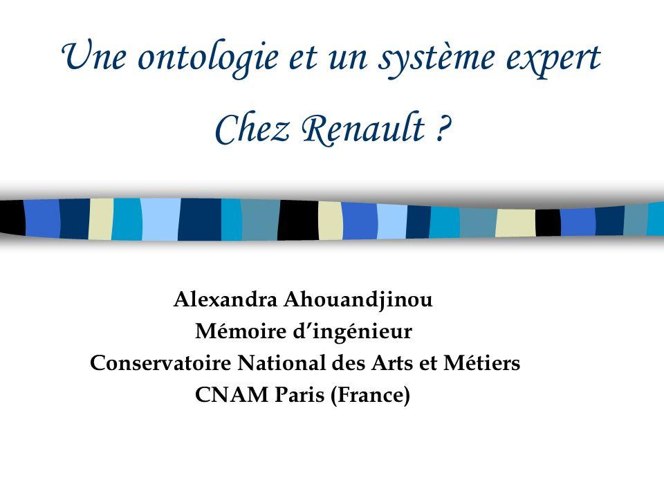 Une ontologie et un système expert Chez Renault ? Alexandra Ahouandjinou Mémoire dingénieur Conservatoire National des Arts et Métiers CNAM Paris (Fra