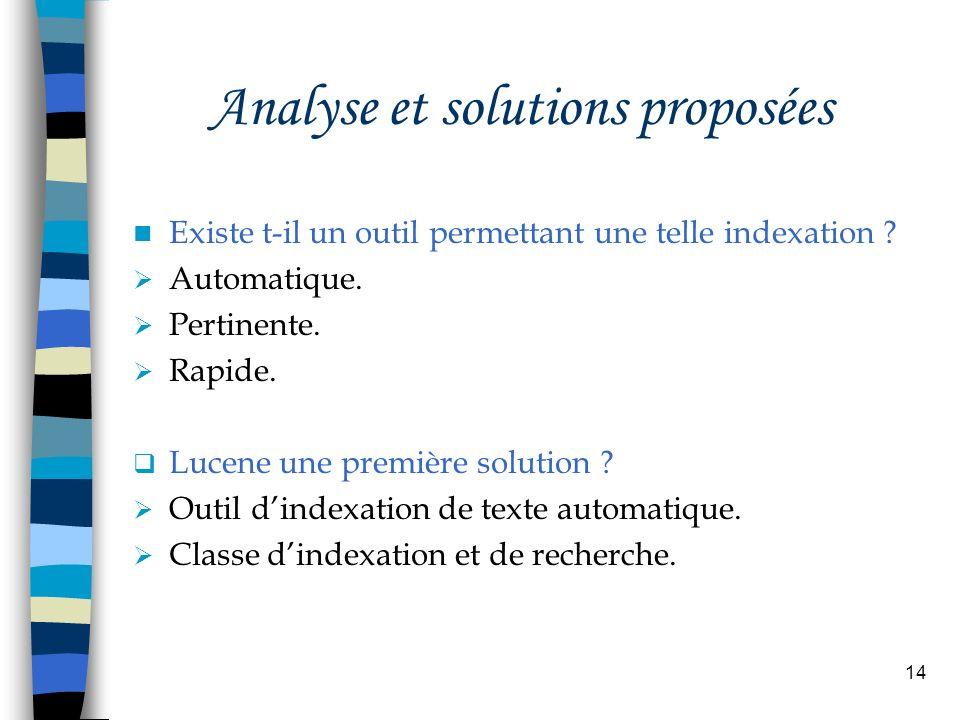 14 Analyse et solutions proposées Existe t-il un outil permettant une telle indexation ? Automatique. Pertinente. Rapide. Lucene une première solution