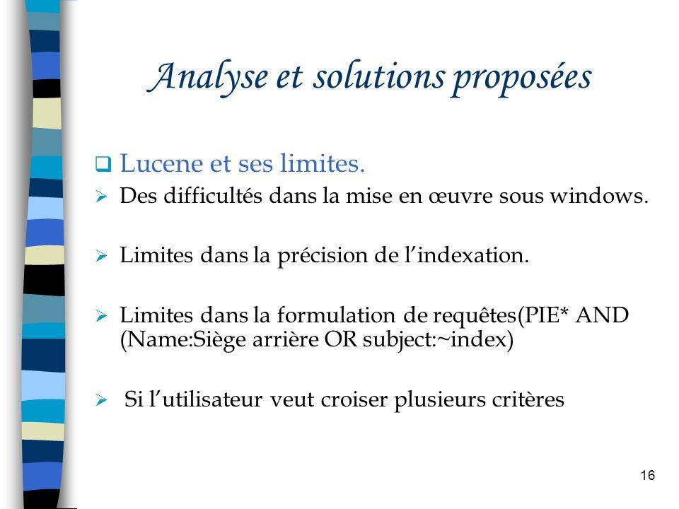 16 Analyse et solutions proposées Lucene et ses limites. Des difficultés dans la mise en œuvre sous windows. Limites dans la précision de lindexation.