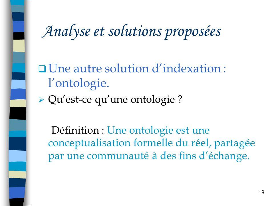 18 Analyse et solutions proposées Une autre solution dindexation : lontologie. Quest-ce quune ontologie ? Définition : Une ontologie est une conceptua