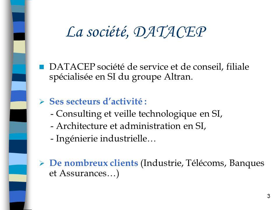 3 La société, DATACEP DATACEP société de service et de conseil, filiale spécialisée en SI du groupe Altran. Ses secteurs dactivité : - Consulting et v