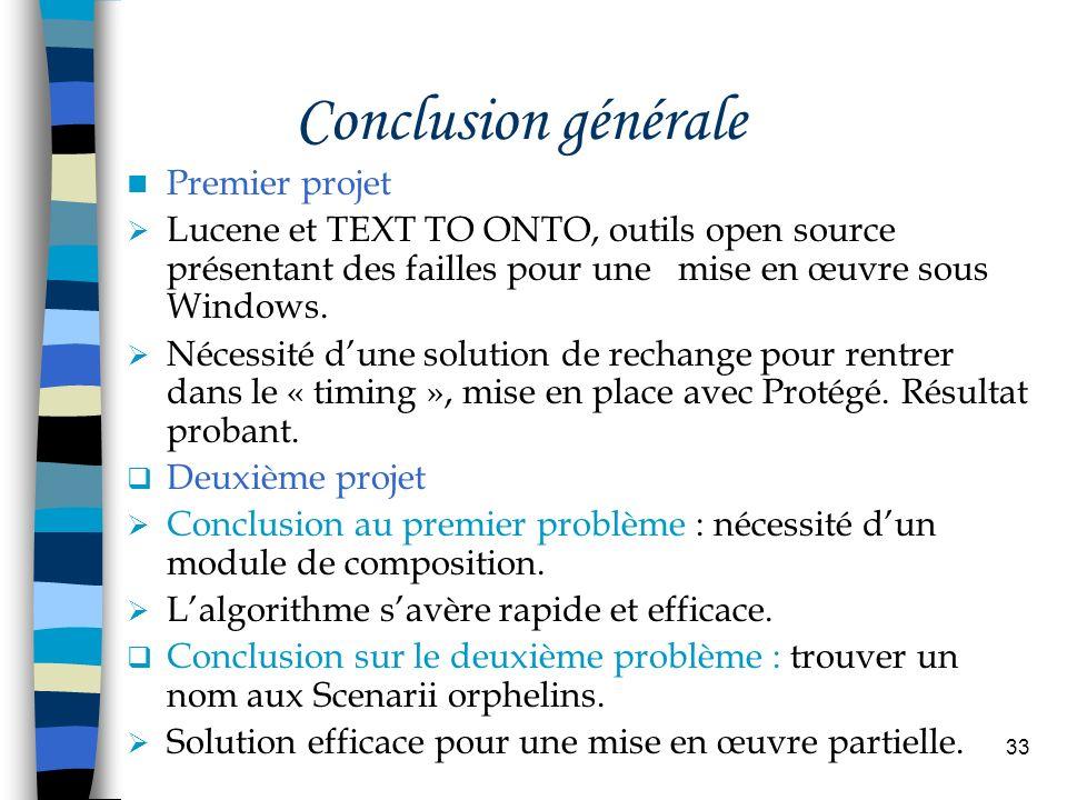 33 Conclusion générale Premier projet Lucene et TEXT TO ONTO, outils open source présentant des failles pour une mise en œuvre sous Windows. Nécessité