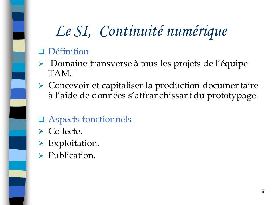 6 Le SI, Continuité numérique Définition Domaine transverse à tous les projets de léquipe TAM. Concevoir et capitaliser la production documentaire à l