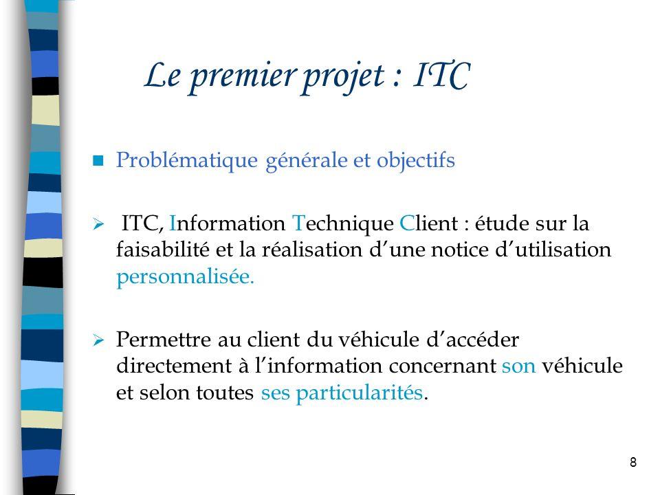 8 Le premier projet : ITC Problématique générale et objectifs ITC, Information Technique Client : étude sur la faisabilité et la réalisation dune noti