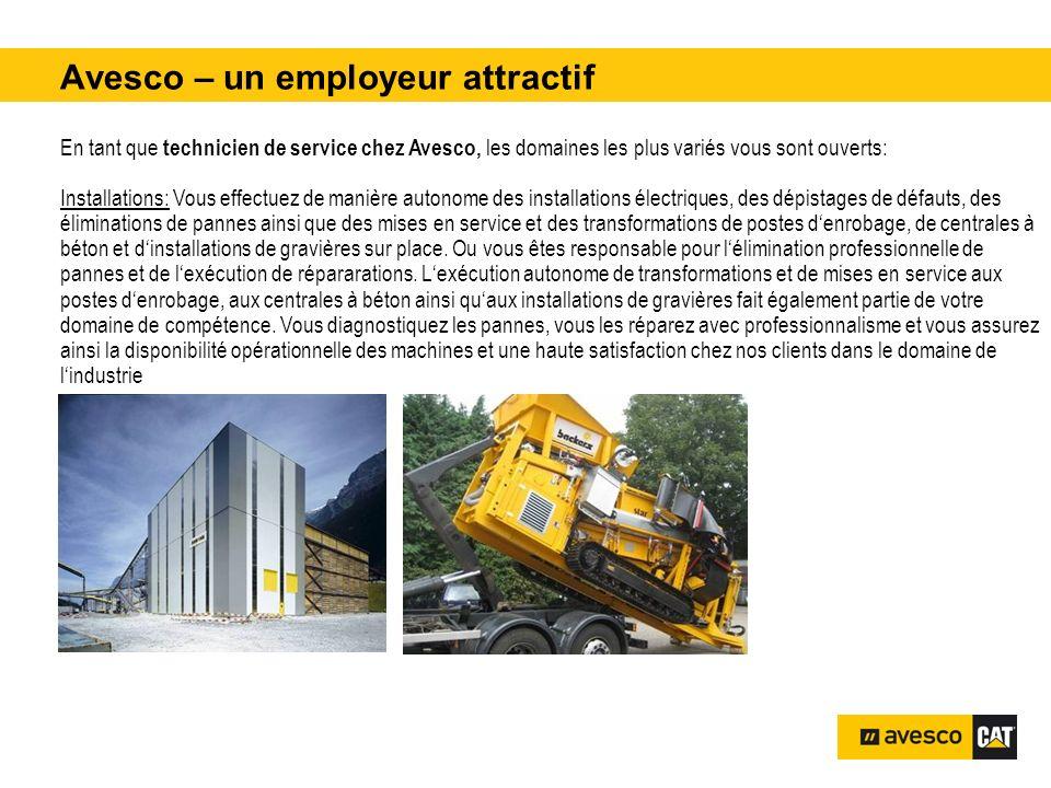 Avesco – un employeur attractif pital 3200 kVA En tant que technicien de service chez Avesco, les domaines les plus variés vous sont ouverts: Installa