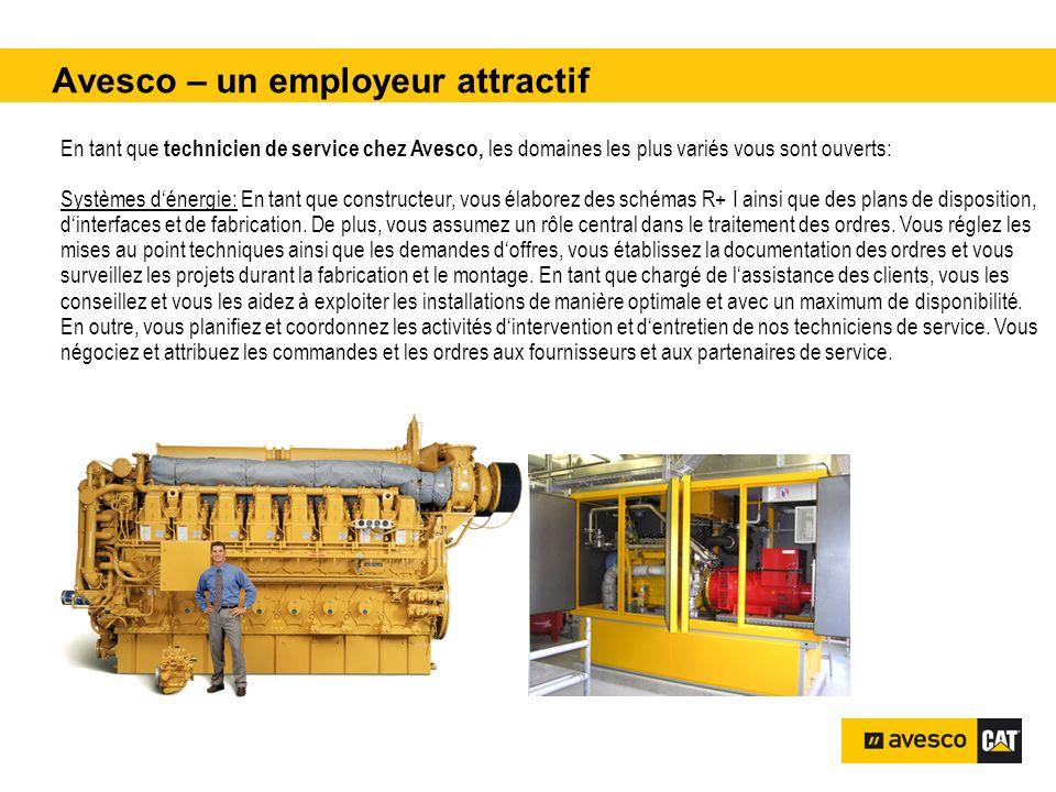 Avesco – un employeur attractif pital 3200 kVA En tant que technicien de service chez Avesco, les domaines les plus variés vous sont ouverts: Systèmes dénergie: En tant que constructeur, vous élaborez des schémas R+ I ainsi que des plans de disposition, dinterfaces et de fabrication.