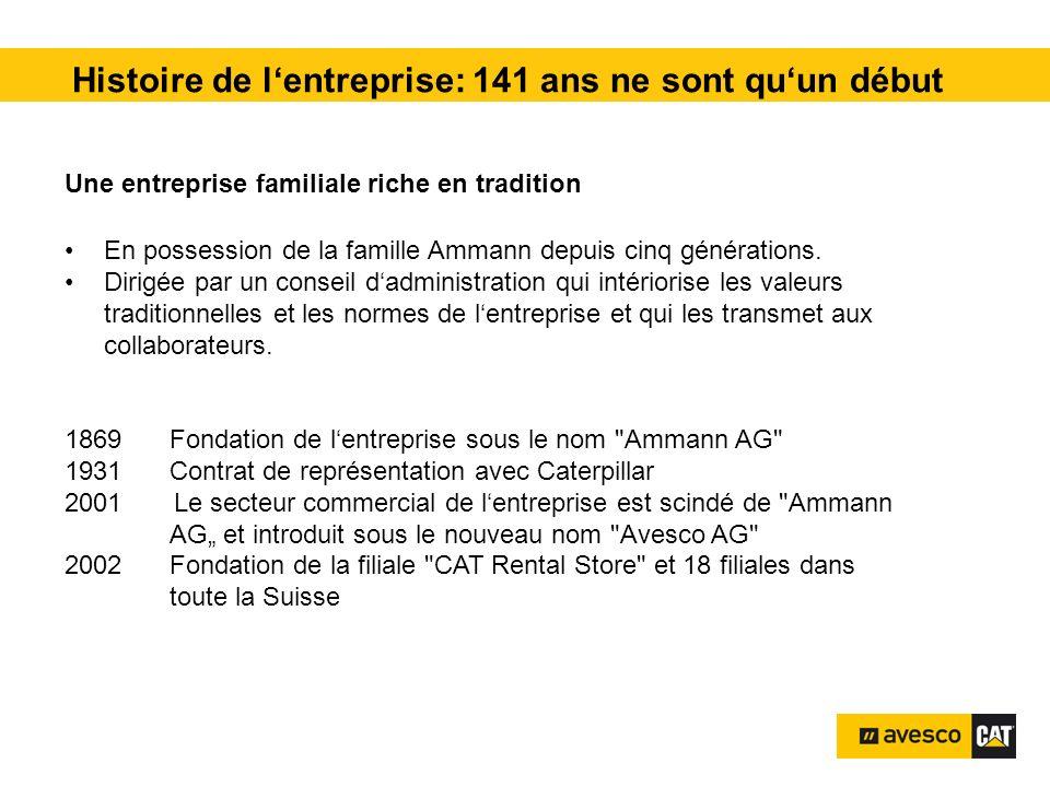 Histoire de lentreprise: 141 ans ne sont quun début Une entreprise familiale riche en tradition En possession de la famille Ammann depuis cinq générat