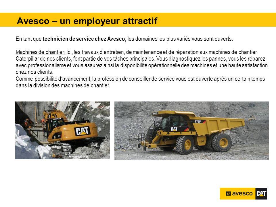 Avesco – un employeur attractif pital 3200 kVA En tant que technicien de service chez Avesco, les domaines les plus variés vous sont ouverts: Machines