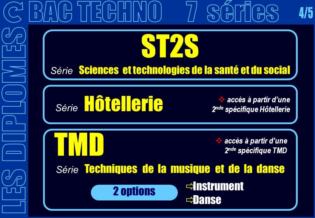 ST2S Série Sciences et technologies de la santé et du social TMD Série Techniques de la musique et de la danse 2 options Instrument Danse Série Hôtell