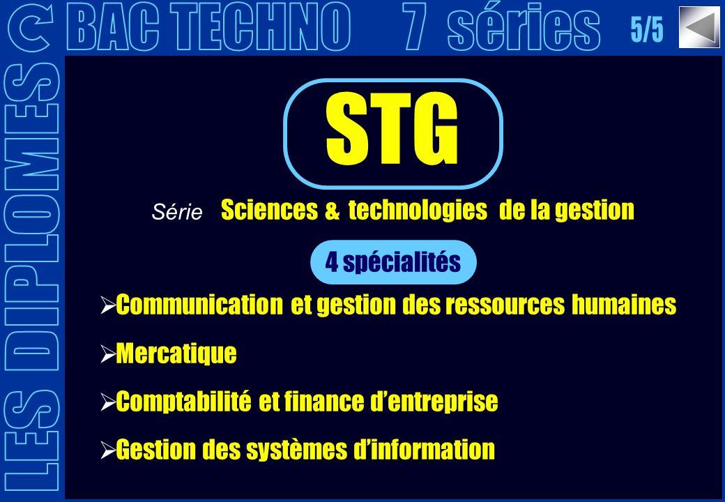 4 spécialités Communication et gestion des ressources humaines Mercatique Comptabilité et finance dentreprise Gestion des systèmes dinformation STG Sé