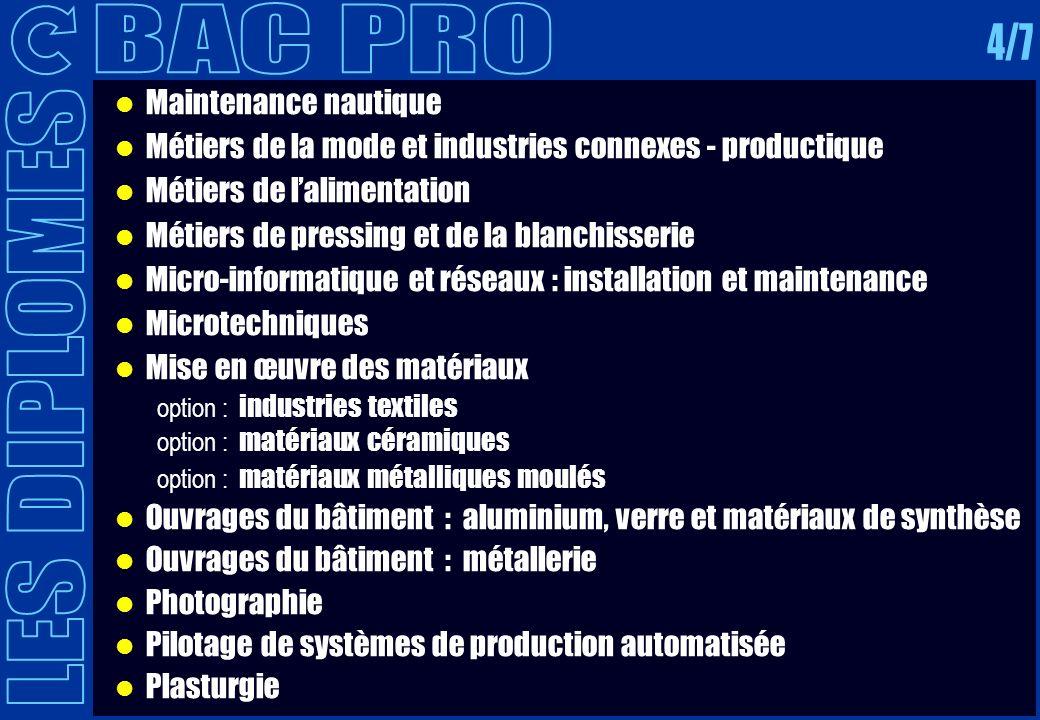Maintenance nautique Métiers de la mode et industries connexes - productique Métiers de lalimentation Métiers de pressing et de la blanchisserie Micro