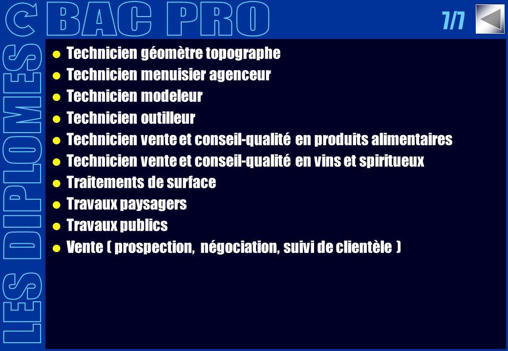Technicien géomètre topographe Technicien menuisier agenceur Technicien modeleur Technicien outilleur Technicien vente et conseil-qualité en produits