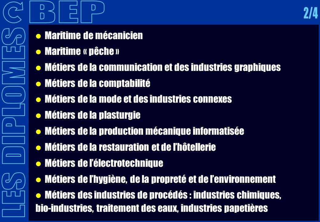 Maritime de mécanicien Maritime « pêche » Métiers de la communication et des industries graphiques Métiers de la comptabilité Métiers de la mode et de
