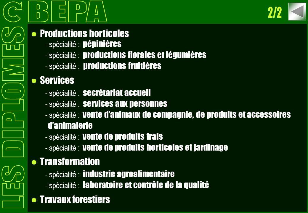 Productions horticoles - spécialité : pépinières - spécialité : productions florales et légumières - spécialité : productions fruitières Services - sp
