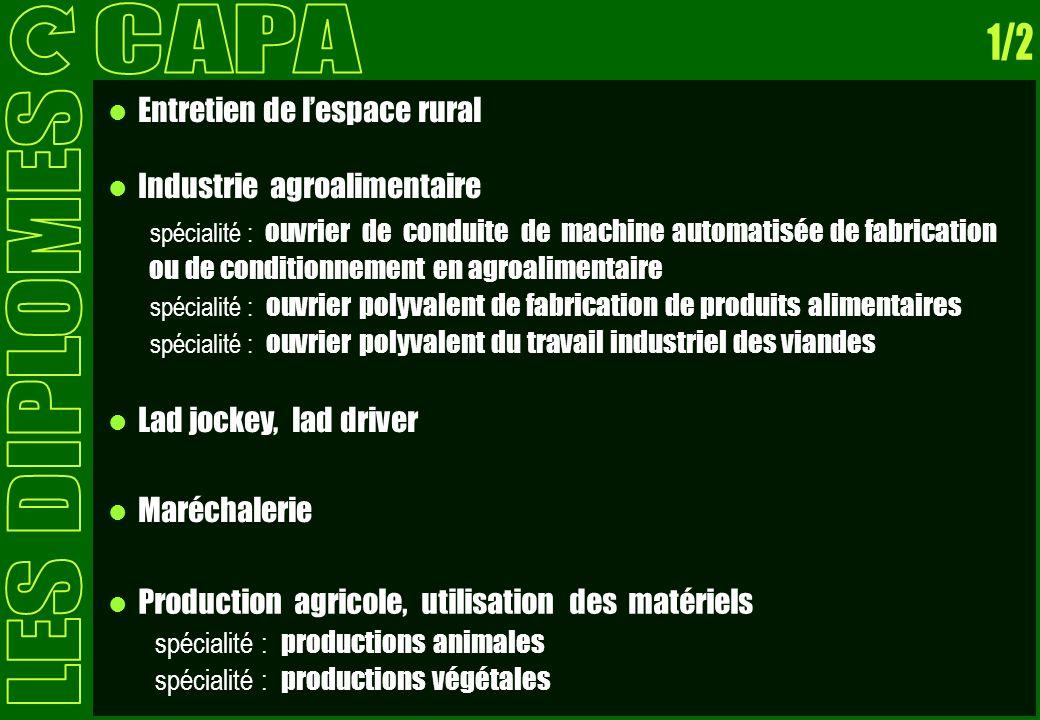Entretien de lespace rural Industrie agroalimentaire spécialité : ouvrier de conduite de machine automatisée de fabrication ou de conditionnement en a