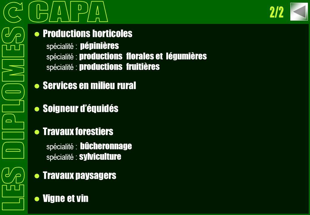 Productions horticoles spécialité : pépinières spécialité : productions florales et légumières spécialité : productions fruitières Services en milieu
