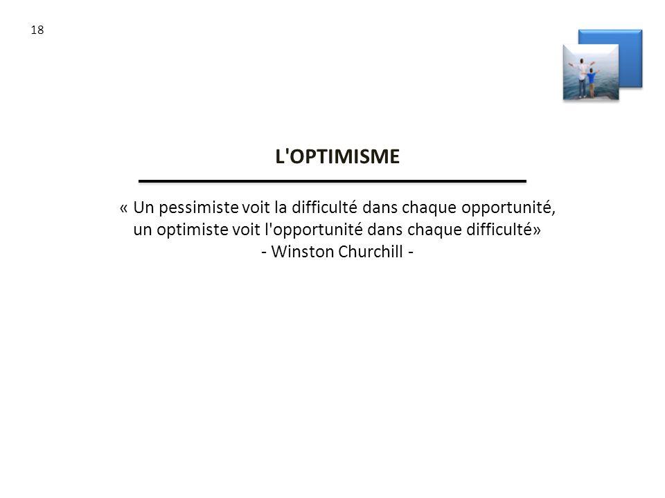 18 L'OPTIMISME « Un pessimiste voit la difficulté dans chaque opportunité, un optimiste voit l'opportunité dans chaque difficulté» - Winston Churchill