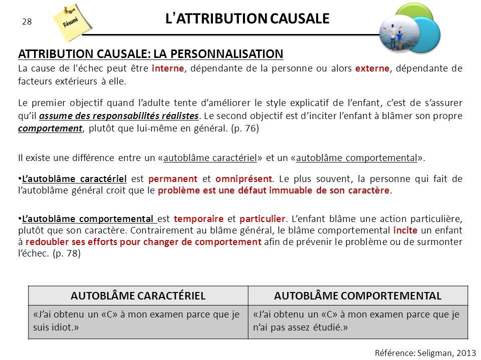 28 LATTRIBUTION CAUSALE ATTRIBUTION CAUSALE: LA PERSONNALISATION La cause de l'échec peut être interne, dépendante de la personne ou alors externe, dé