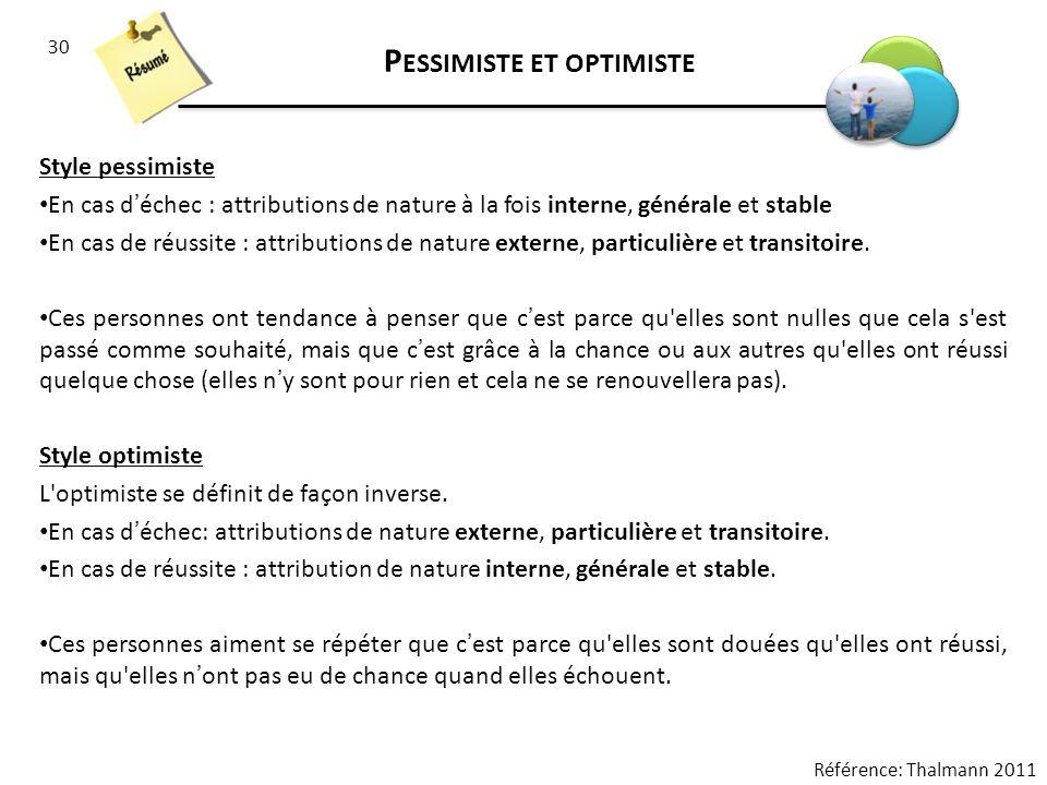 30 P ESSIMISTE ET OPTIMISTE Style pessimiste En cas déchec : attributions de nature à la fois interne, générale et stable En cas de réussite : attribu