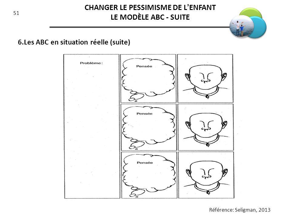51 6.Les ABC en situation réelle (suite) Référence: Seligman, 2013 CHANGER LE PESSIMISME DE LENFANT LE MODÈLE ABC - SUITE