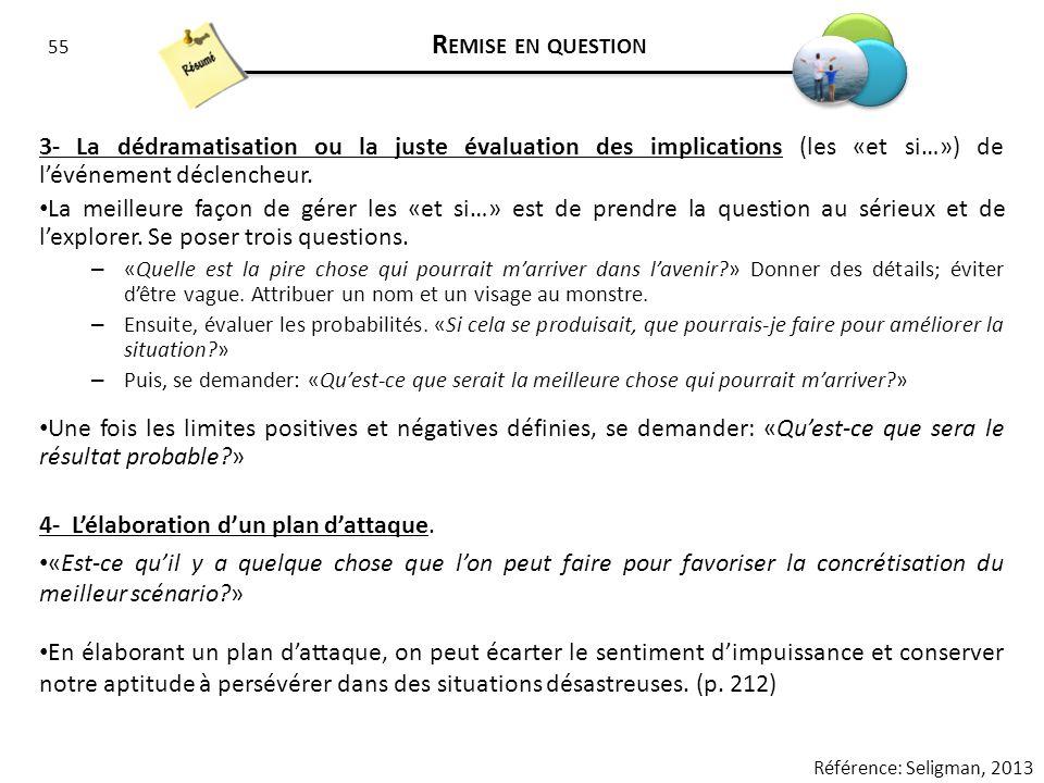 55 R EMISE EN QUESTION 3- La dédramatisation ou la juste évaluation des implications (les «et si…») de lévénement déclencheur. La meilleure façon de g