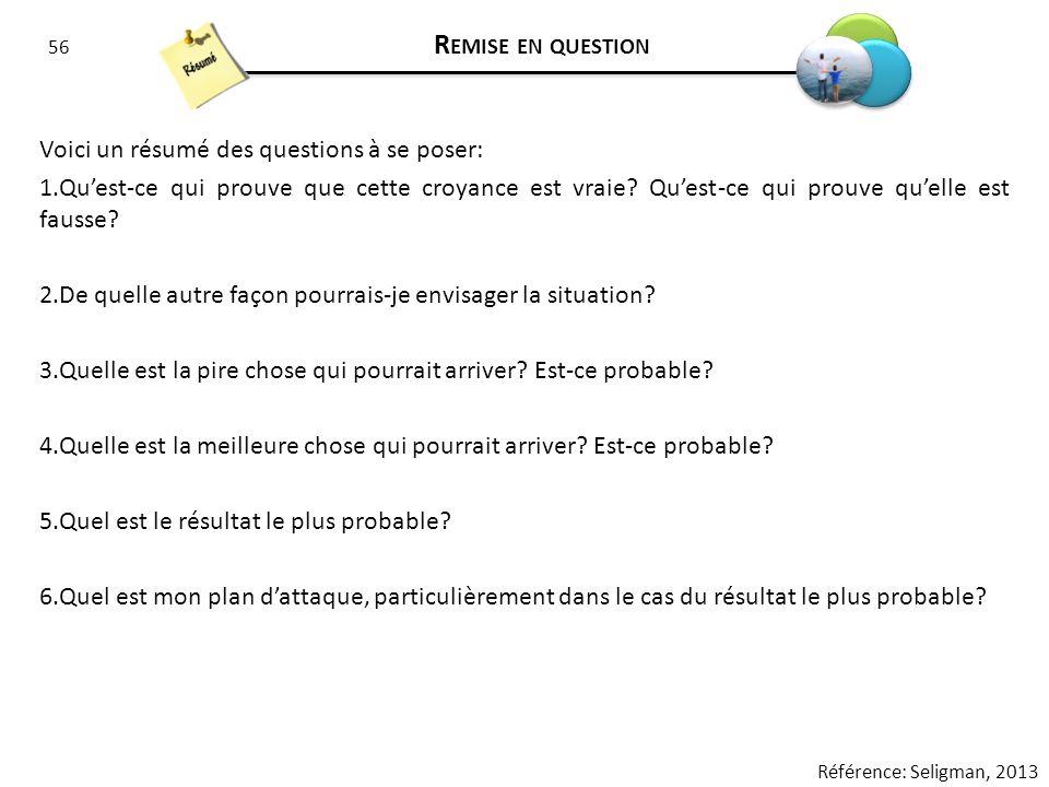 56 R EMISE EN QUESTION Voici un résumé des questions à se poser: 1.Quest-ce qui prouve que cette croyance est vraie? Quest-ce qui prouve quelle est fa