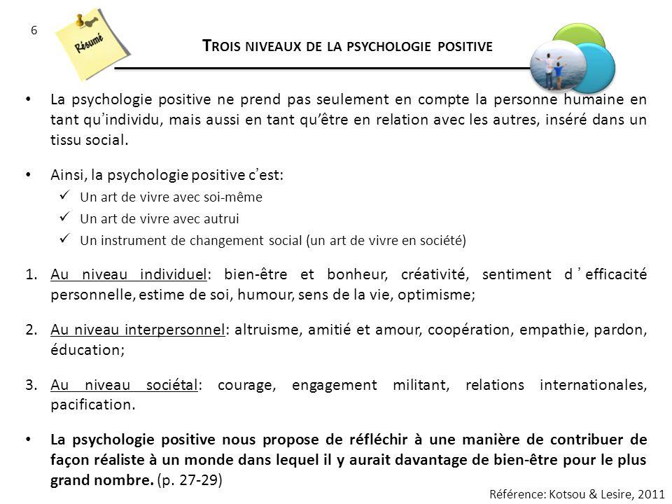 6 T ROIS NIVEAUX DE LA PSYCHOLOGIE POSITIVE La psychologie positive ne prend pas seulement en compte la personne humaine en tant quindividu, mais auss