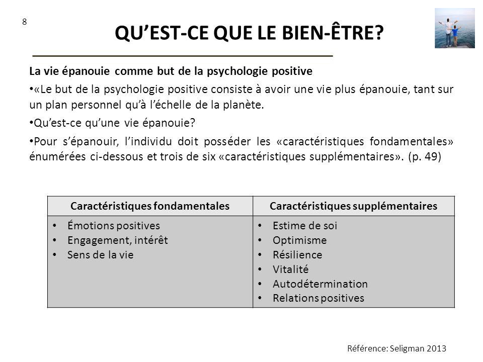 8 QUEST-CE QUE LE BIEN-ÊTRE? La vie épanouie comme but de la psychologie positive «Le but de la psychologie positive consiste à avoir une vie plus épa
