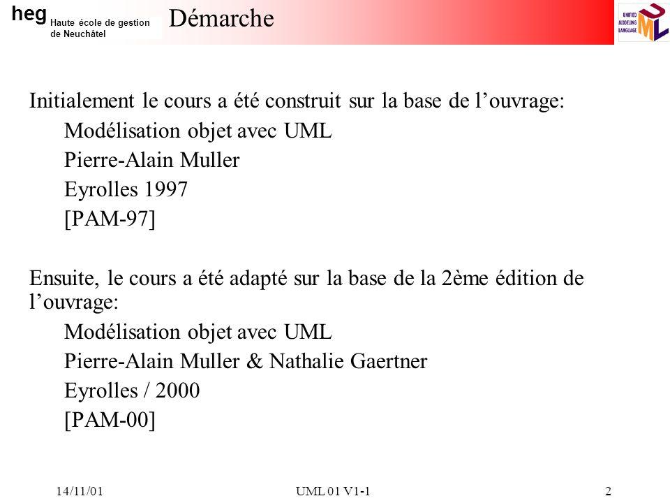heg Haute école de gestion de Neuchâtel 14/11/01UML 01 V1-12 Démarche Initialement le cours a été construit sur la base de louvrage: Modélisation objet avec UML Pierre-Alain Muller Eyrolles 1997 [PAM-97] Ensuite, le cours a été adapté sur la base de la 2ème édition de louvrage: Modélisation objet avec UML Pierre-Alain Muller & Nathalie Gaertner Eyrolles / 2000 [PAM-00]