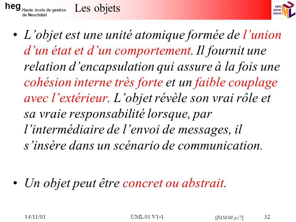 heg Haute école de gestion de Neuchâtel 14/11/01UML 01 V1-132 Les objets Lobjet est une unité atomique formée de lunion dun état et dun comportement.