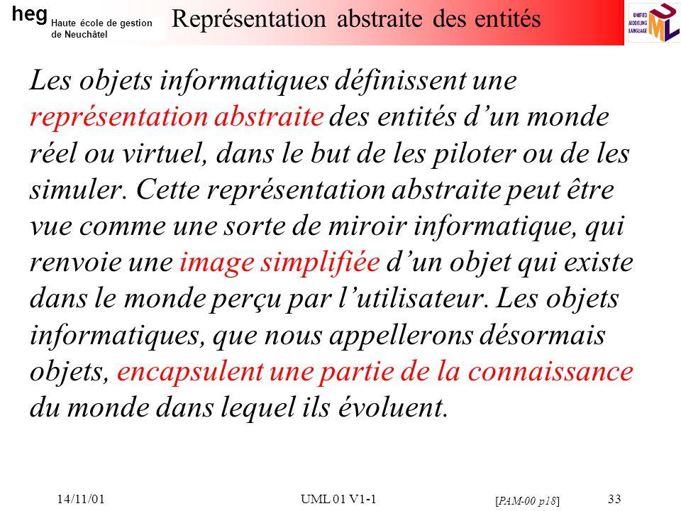 heg Haute école de gestion de Neuchâtel 14/11/01UML 01 V1-133 Représentation abstraite des entités Les objets informatiques définissent une représentation abstraite des entités dun monde réel ou virtuel, dans le but de les piloter ou de les simuler.