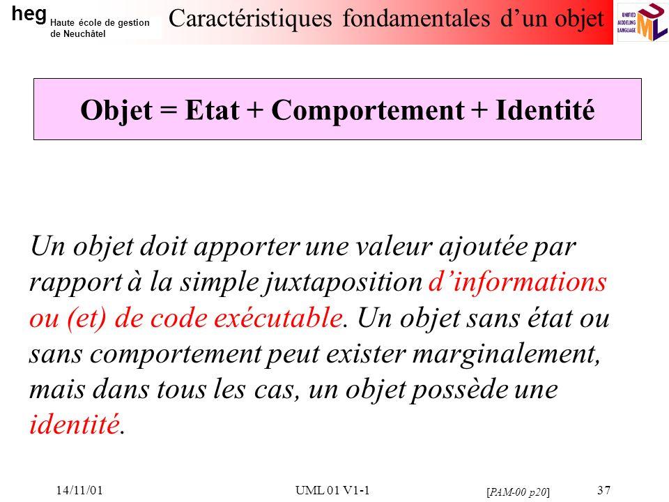 heg Haute école de gestion de Neuchâtel 14/11/01UML 01 V1-137 Caractéristiques fondamentales dun objet Un objet doit apporter une valeur ajoutée par rapport à la simple juxtaposition dinformations ou (et) de code exécutable.