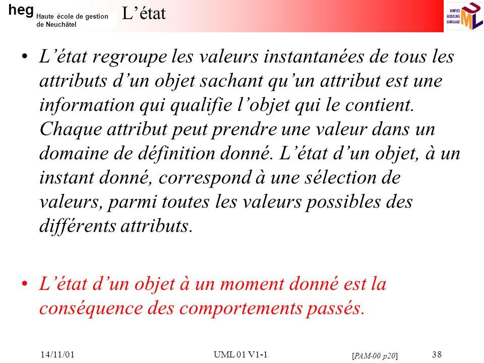heg Haute école de gestion de Neuchâtel 14/11/01UML 01 V1-138 Létat Létat regroupe les valeurs instantanées de tous les attributs dun objet sachant quun attribut est une information qui qualifie lobjet qui le contient.