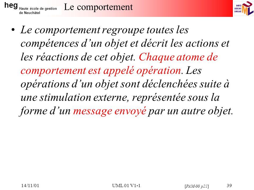 heg Haute école de gestion de Neuchâtel 14/11/01UML 01 V1-139 Le comportement Le comportement regroupe toutes les compétences dun objet et décrit les actions et les réactions de cet objet.
