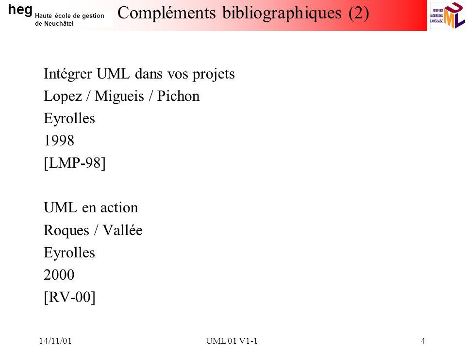 heg Haute école de gestion de Neuchâtel 14/11/01UML 01 V1-14 Compléments bibliographiques (2) Intégrer UML dans vos projets Lopez / Migueis / Pichon Eyrolles 1998 [LMP-98] UML en action Roques / Vallée Eyrolles 2000 [RV-00]