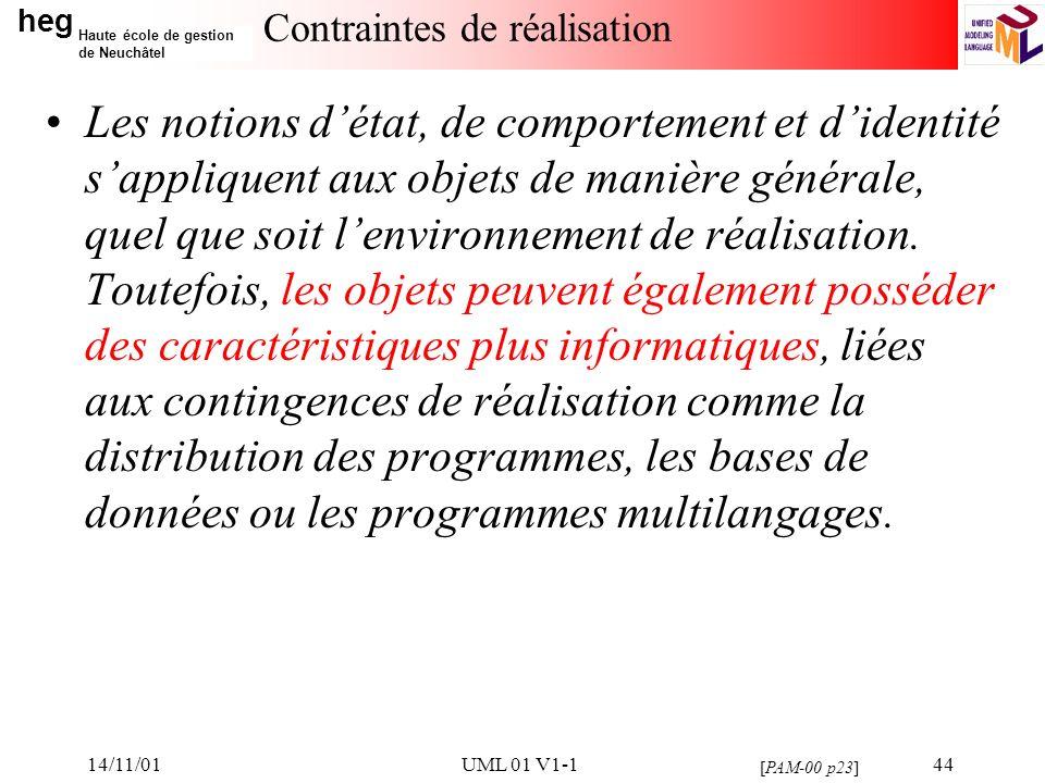 heg Haute école de gestion de Neuchâtel 14/11/01UML 01 V1-144 Contraintes de réalisation Les notions détat, de comportement et didentité sappliquent aux objets de manière générale, quel que soit lenvironnement de réalisation.