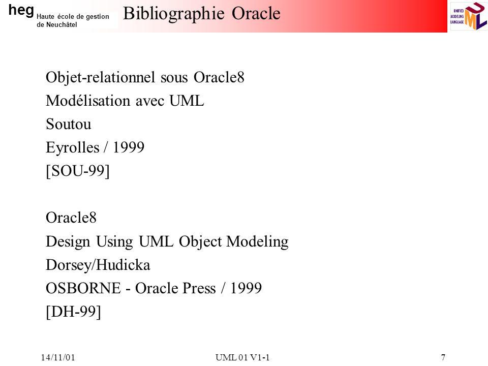 heg Haute école de gestion de Neuchâtel 14/11/01UML 01 V1-17 Bibliographie Oracle Objet-relationnel sous Oracle8 Modélisation avec UML Soutou Eyrolles / 1999 [SOU-99] Oracle8 Design Using UML Object Modeling Dorsey/Hudicka OSBORNE - Oracle Press / 1999 [DH-99]