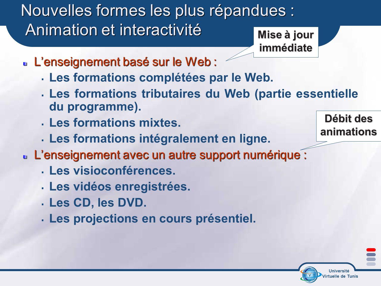 Université Virtuelle de Tunis Nouvelles formes les plus répandues : Animation et interactivité Lenseignement basé sur le Web : Les formations complété