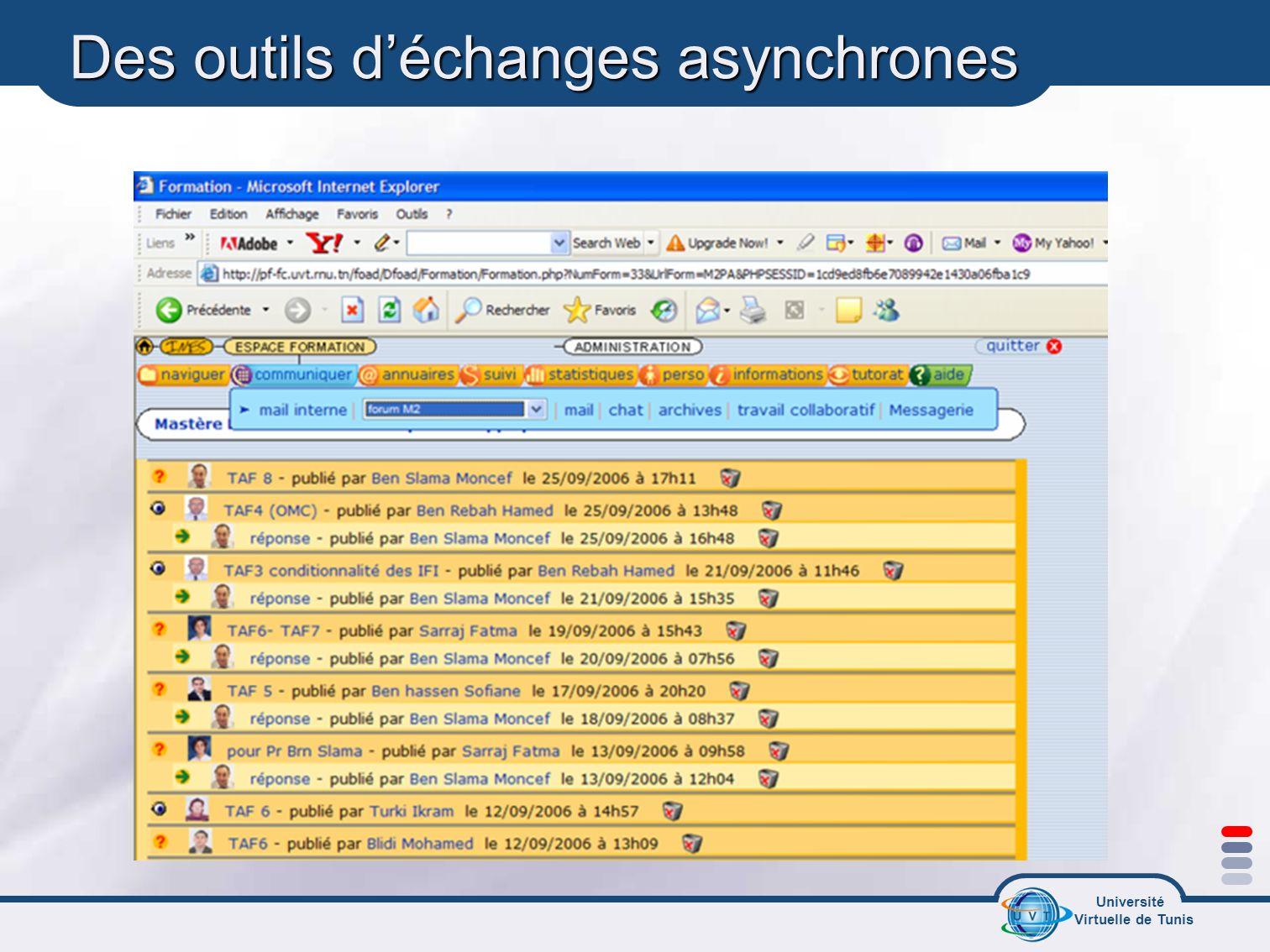 Université Virtuelle de Tunis Des outils déchanges asynchrones