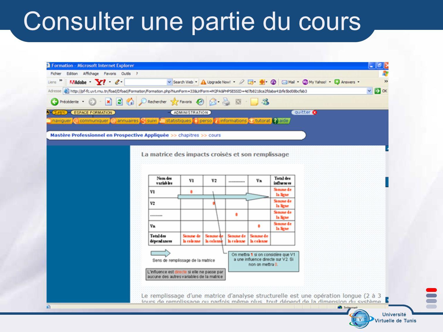 Université Virtuelle de Tunis Consulter une partie du cours