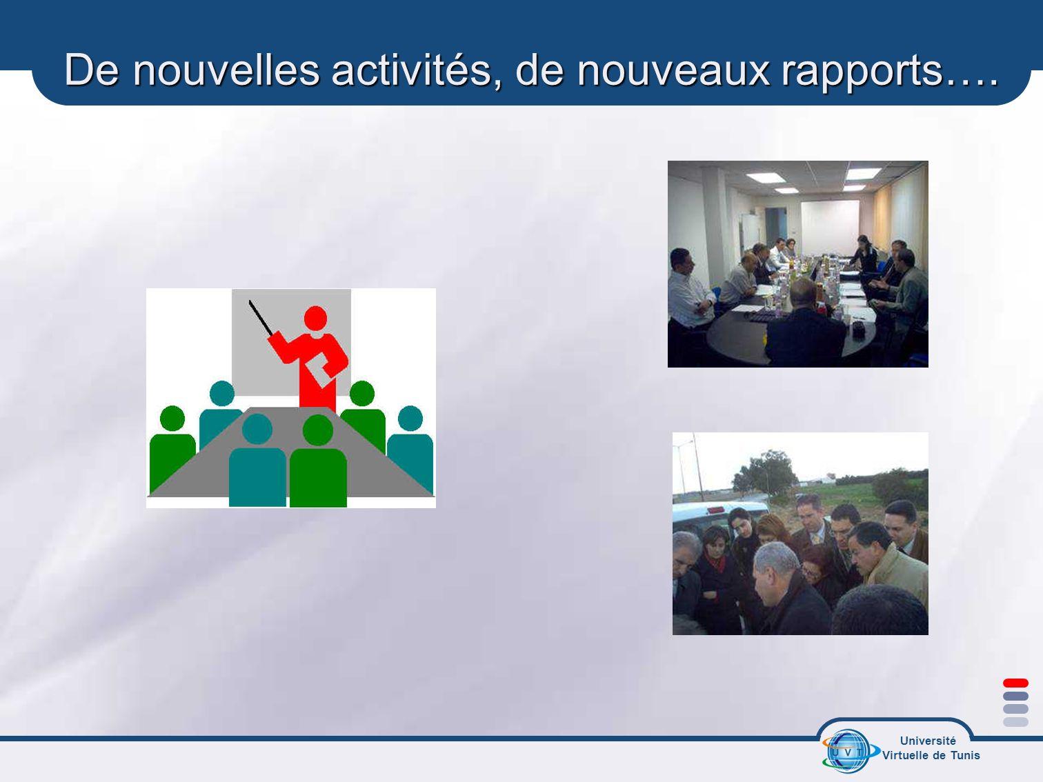 Université Virtuelle de Tunis De nouvelles activités, de nouveaux rapports….