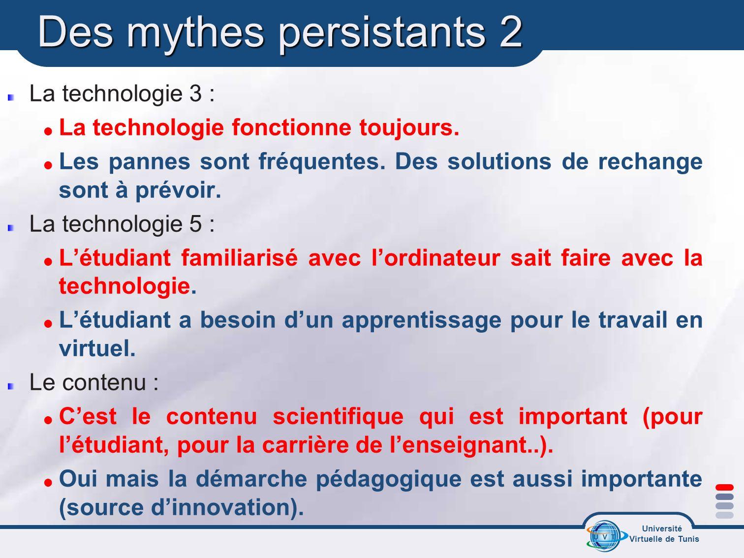 Université Virtuelle de Tunis Des mythes persistants 2 La technologie 3 : La technologie fonctionne toujours. Les pannes sont fréquentes. Des solution