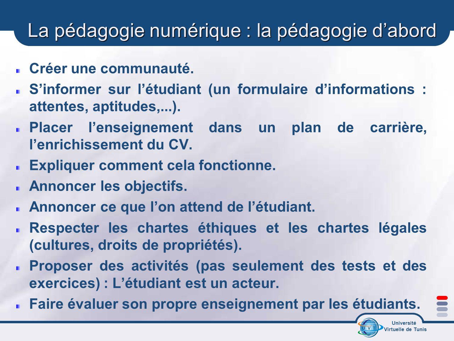 Université Virtuelle de Tunis La pédagogie numérique : la pédagogie dabord Créer une communauté. Sinformer sur létudiant (un formulaire dinformations